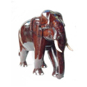 Brown Wood Polished Elephant Statue For Interior Decor