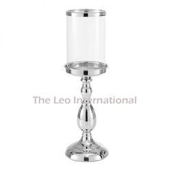 Glass And Aluminium Metal Hurricane Candle Holder Nickel Finish