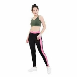 Black Track Pant with Pink Patti