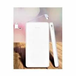 10000 mAh Leather Finish White Power Bank