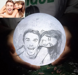 Personalized 3D Photo Printed Moon Lamp