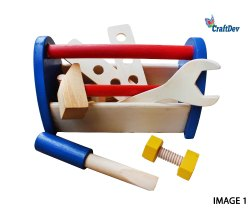 Educational Toy Multicolor Wooden Tool Box, For Personal, For Kids Learning Toy