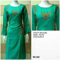 Rayon Blue Embroidery Straight Kurtis