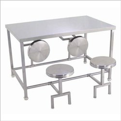 eight canteen table with adjustable stool