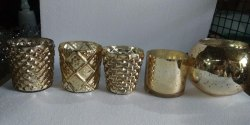 Gold Designer Mercury Votive Glasses