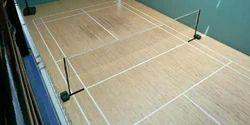 Unique Sports Brown Teak Wood Badminton Court Flooring, Thickness: 3.5-7 Mm