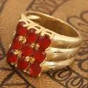 Unisex Party Wear Synthetic Red Manik (Ruby) Brass Ring