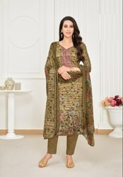 Designer Self Embroidery Satin Salwar Suit