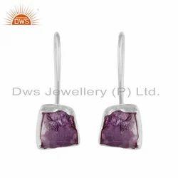 925 Fine Sterling Silver Amethyst Gemstone Hook Dangle Earrings