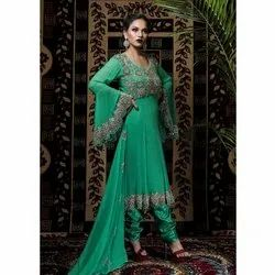Stitched Green Ladies Designer Georgette Embroidered Churidar Suit, Dry clean
