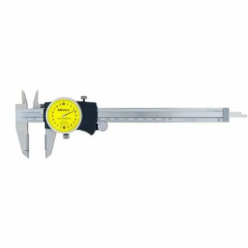 Yellow Face Mitutoyo 505-731 Dial Caliper 0-200 mm Range 0.02 mm Resolution Stainless Steel -0.03 mm Accuracy