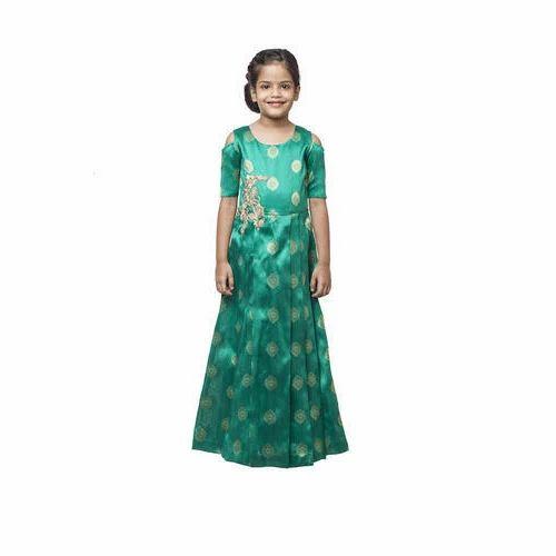 4538700a6d9 Party Wear Georgette Kids Western Green Gown