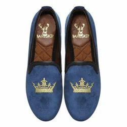 Men Stylish Blue Velvet Slip On Shoes, Size: 36 to 42