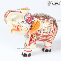 Traditional White Marble Elephant Golden Painted