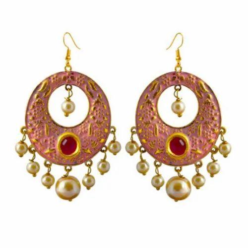 MK Jewellers Matte Meena Bali Earrings, MK Jewellers   ID
