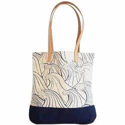 Multicolor Printed Canvas Tote Handbag