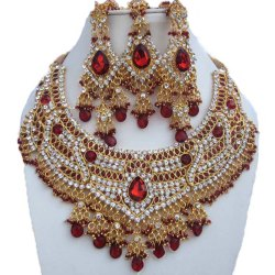 Dark-Red Wedding FNS-107 Finekraft Party Wear Zirconia Necklace Set, Packaging Type: Box