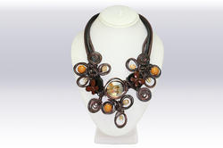 Multi Color Imported Stone And Wire Work Necklace