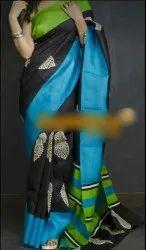 Tussar Silk Block Printed Sarees