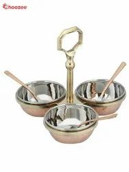 Brass / Copper / Stainless Steel Pickle Set - 3 Pcs