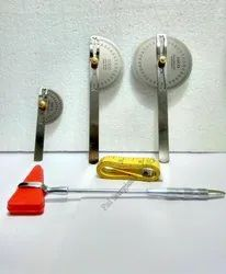 Set of Goniometer, Pinbrush Hammer & Measuring Tape