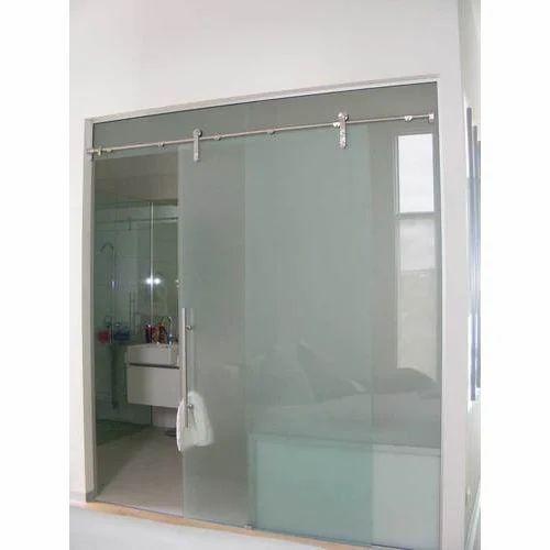 Interior Bathroom Double Doors: Frameless Glass Sliding Door At Rs 350 /square Feet