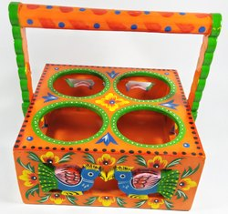 Multicolor Wooden Handcrafted and Handpainted Glass Stand for Home