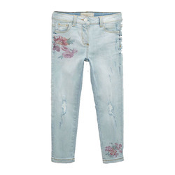 Kids- Girls Floral Print Jeans Pants