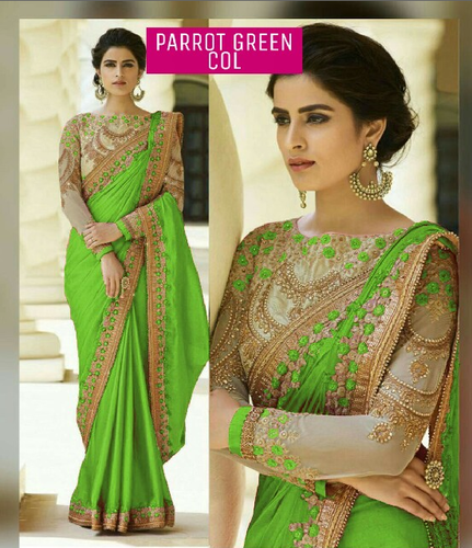Designer Green Silk Saree With Embroidery Work Border And Blouse At