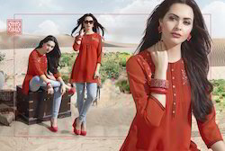 Red Color Embroidery Designer Kurti