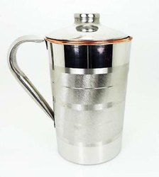 Steel Jug With Inside Copper, Lining Design, Jug Pitcher, Storage & Serving Water