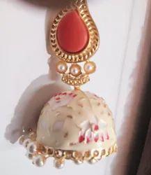 Meena Painted Jhumka Earring
