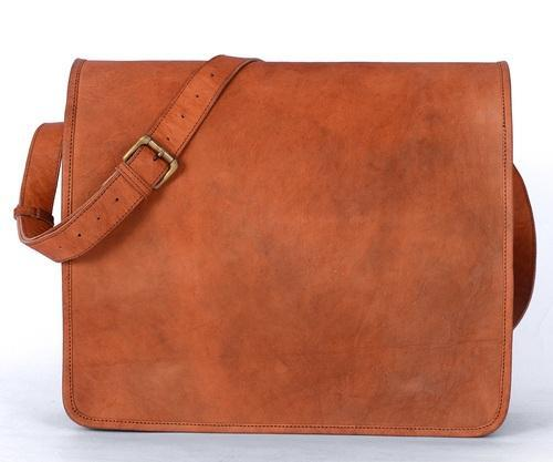 Brown Huk Goat Leather Messenger Bag For Men Leather Laptop Bag de6eaa8611b8d