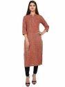 Women's Cotton Printed Red Kurta