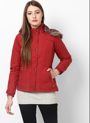 Red Solid Jacket With Detachable Hood