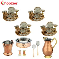 Choozee - Set of 4, Stainless Steel Copper Thali Dinner Set with Serveware, Salt Pepper Set & Copper
