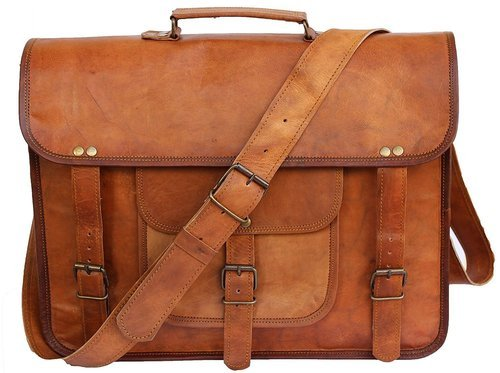 Brown Leather Laptop Messenger Bag For 15.6-Inch Laptops 6bb2bec61
