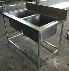 Stainless Steel Two Bowl Commercial Sink