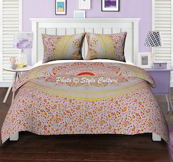 Orange Yellow Floral Mandala Duvet Quilt Cover