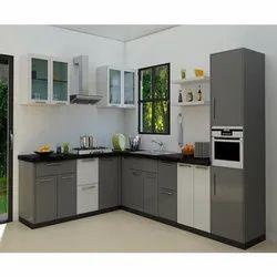 PVC L Shaped Modular Kitchen