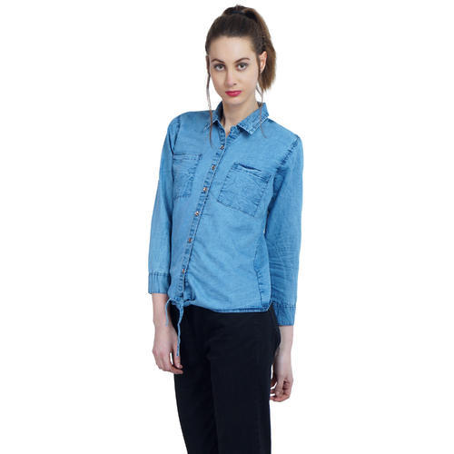 d74e8ca0c86 Anjum Fashionable Creation Sky Blue Fancy Ladies Denim Shirts