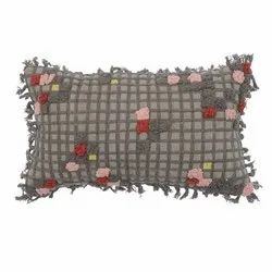 Decorative Grey Colored Embroidered Cotton Pillow Cover