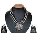 German Silver Stone Durga Thread Necklace With Earrings For Women And Girls