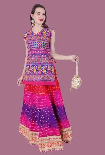 Cotton thread work embroidery Kurtis