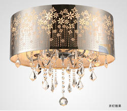 Modern LED K9 Lustre Crystal Chandelier Drum Ceiling Lamp Fixture Lighting Dining Room Luminre E14