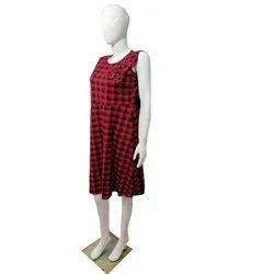 Round Party Wear Ladies Cotton Midi Dress, Size: Free Size