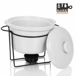 Mild Steel Plain White Casserole With Stand, Packaging Type: Box