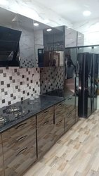 Stainless Steel Black Mirror Finish Modular Kitchen