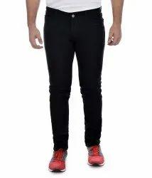 Zipper Plain Mens Branded Pure Black Denim Jeans
