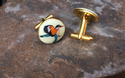 Silver Cufflinks - Hand Painted Birds